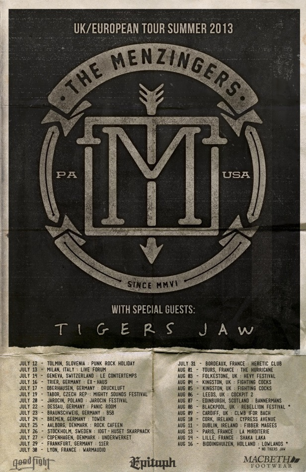 Menzingers : Tigers Jaw Summer Tour 2013