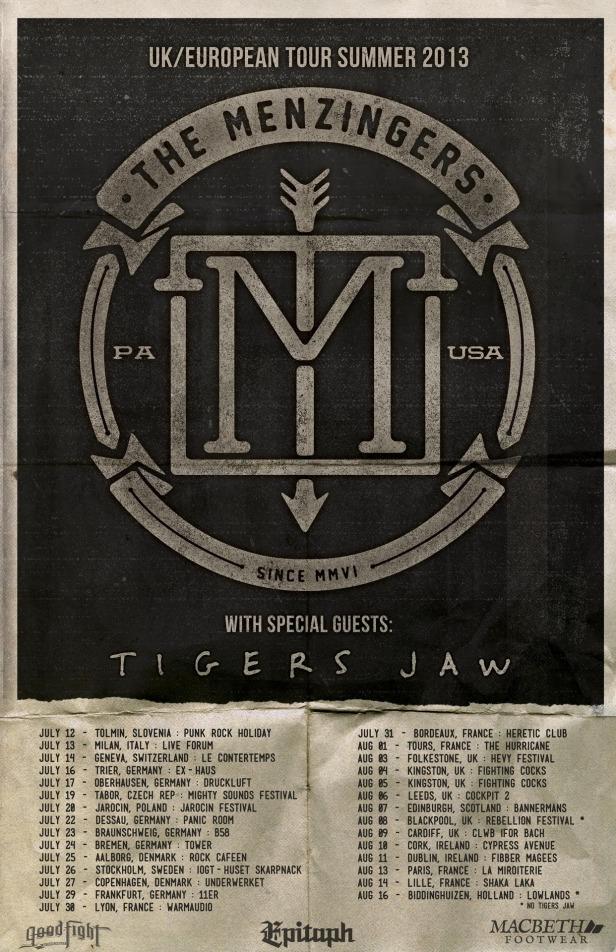 Menzingers : Tigers Jaw Summer Tour 2013