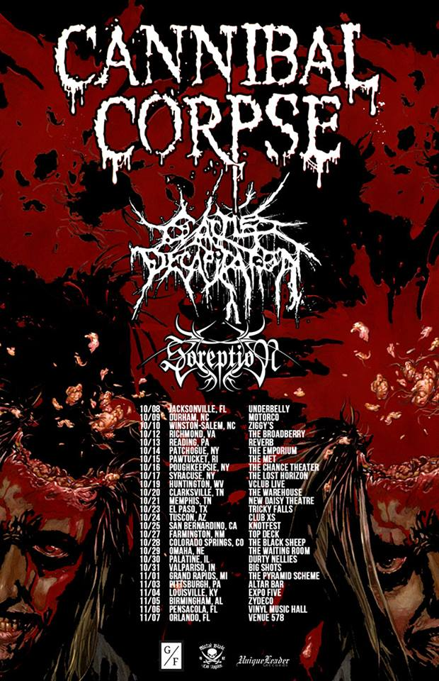 Cannibal Corpse Fall 2015 Tour